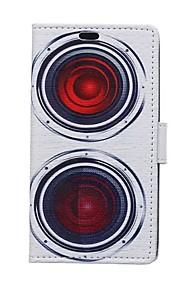 rojo patrones cuerno cartera de tarjeta de cuero de la PU caso de cuerpo completo para el deseo htc 826