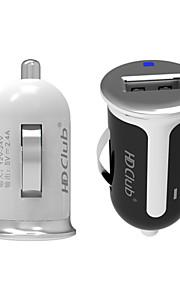 hdclub® 12v / 24v dc enkele USB autolader 5V / 2.4a voor iPhone / iPad en anderen (wit / zwart)