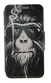 kinston® fumer motif de singe en cuir PU couverture complète du corps avec support pour HTC Desire yeux / M910