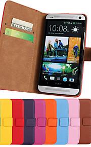 HTC 하나 M7 용 스탠드 단색 세련된 정품 PU 가죽 플립 커버 지갑 카드 슬롯 케이스 (모듬 색상)