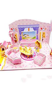 DIY lyserød piges soveværelse formet 3d puslespil