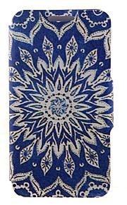 kinston® bleu fleurs de soleil motif cuir PU couverture complète du corps avec support pour HTC Desire yeux / M910