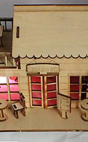 3 d DIY hytte med en pære kan være farvet træ model