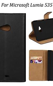 kemile 순수한 색상 자기 플립 마이크로 소프트 루미아 535 (모듬 색상)에 대한 2 카드 슬롯 정품 가죽 케이스 스탠드