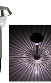 Stainless Steel 1-LED Whte Solar Lawn Light Pathway Garden Lamp