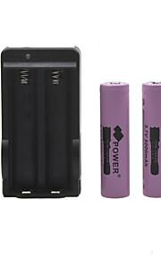 ons plug batterijlader voor 18650 oplaadbare Li-ion batterij (inbegrepen 2x5000mah 3,7 V)