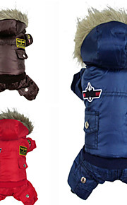 Dog Coat / Hoodie / Clothes/Jumpsuit Red / Blue / Brown Winter Police/Military Keep Warm / Fashion
