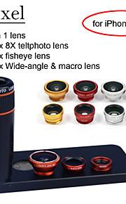 apexel 4 i 1 skit 8x svart teleskop lins + fisheye-objektiv + vidvinkel + makrokameralinsen med fallet för iphone 5 5s