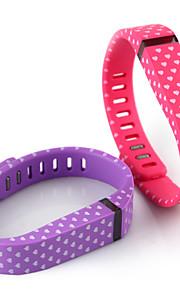 substituição corações brancos padrão pequena faixa de pulso w / fecho para Fitbit flexível pulseira inteligente (2pcs)