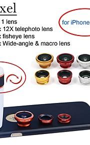 apexel 4 i 1 objektiv kit 12x vit teleobjektiv + fisheye-objektiv + vidvinkel + makrokameralinsen med fallet för iphone 6 plus