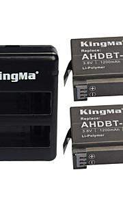 Kingma kit4001 2 x 1200mAh batterier + 2-slot batteri laddare set till GoPro hjälte 4 / ahdbt-401 - svart