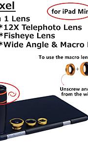 apexel 4 i 1 objektiv kit 12x svart teleskop lins + fisheye-objektiv + vidvinkel + makrokameralinsen med fallet för iPad Mini 2/3