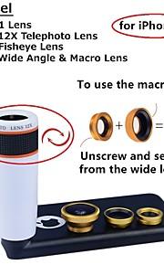 apexel 4 i 1 objektiv kit 12x vit teleobjektiv + fisheye-objektiv + vidvinkel + makrokameralinsen med fallet för iphone 5c
