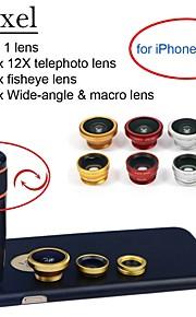 apexel 4 i 1 objektiv kit 12x svart teleobjektiv + fisheye-objektiv + vidvinkel + makrokameralinsen med fallet för iphone 6 plus