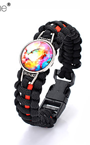 Lureme®Europestyle Brief Black Intertwine  Red Weave Parachute Cord Dream Starry Sky Time Gem Alloy Bracelet