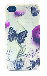 Butterflies  Pattern Transparent Frosted PC Back Cover For  iPhone 4/4S
