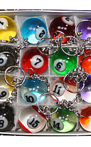16 X Cute Multicolor Simulation Billiards Metal Key Chains Key Ring