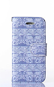 Elephant Pattern PU Leather Full Body Case with Stand for iPhone 5/5S