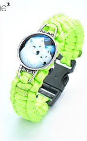 Lureme®  Europestyle Brief Yellow  Weave Parachute Cord  Two White Wolf Time Gem  Alloy Bracelet