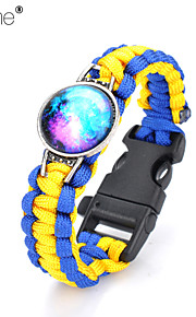 Lureme® Brief Blue Intertwine  Yellow Weave Parachute Cord Blue Starry Sky Time Gem Survival Whistle Alloy Bracelet