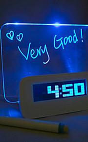 Night Light LED Alarm Clock Message Board forveksles, Colors DC 5V 3 * AAA USB grensesnitt