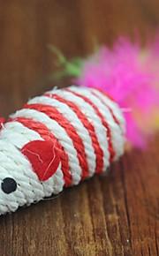 Brinquedo Para Gato Brinquedos para Animais Brinquedo de Provocação Brinquedo com Penas camundongo Cor Aleatória Téxtil