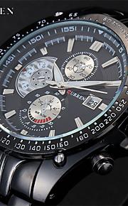 roupas masculinas curren® relógio de quartzo japonês cinta de aço inoxidável deco multi-subdial