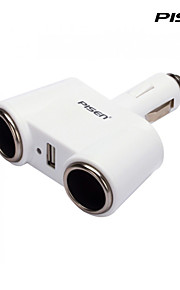 Pisen 3-in-1 Car Charger Cigarette Charger with 2DC Outlets and 1 USB Port for iPhone 4,5,5s,5C,6 ,iPad,mini Color White
