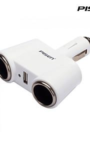 Pisen 3-in-1 auto-oplader sigarettenaansteker lader met 2dc stopcontacten en 1 USB-poort voor iPhone 4,5,5s, 5c, 6, ipad, mini kleur wit