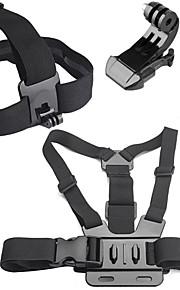 4 in 1 Accessories Kit with Chest Belt, Headstrap for GoPro Hero 4/3+/3/2/1 SJ4000/SJ5000/SJ6000/Xiaomi Yi