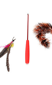 FUN OF PETS® Retractable Lovely  Feather Playing Stick Feather Teaser Wand Cat Toy for Pet Dogs Cats (Random Colour)