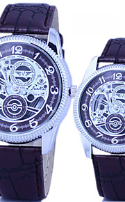 moda do casal e casual pu pulseira de couro tira disque relógio de quartzo oco