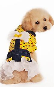 Vestidos - Amarelo/Rosa - de Algodão - Casamento/Fantasias - para Cães/Gatos