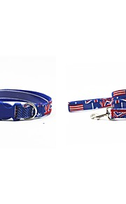 Canvas-The UK Flat Style Pet Collar and Leash Suit (Assorted Sizes)