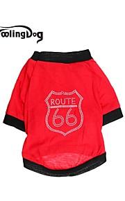 Röd/Svart Bomull - T-shirt - till Hundar/Katter