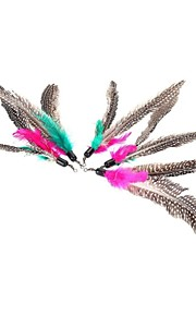 FUN OF PETS® 5 Pieces A Packed  Birds  Feather Pet Dogs Cats Playing Stick Teasers Cat Feather Toy Feathers Replace Head