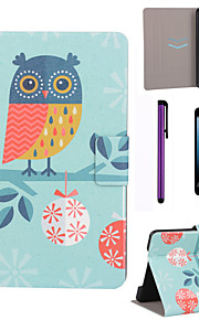 Snow Owl Pattern PU Leather Case with Screen Protector and Stylus for iPad mini 1/2/3