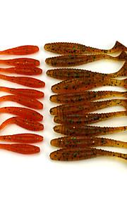 20pcs Mixed Size Soft Plastic Worm Baits Fishing Wobblers  80mm/5.7g  50mm/2.2g