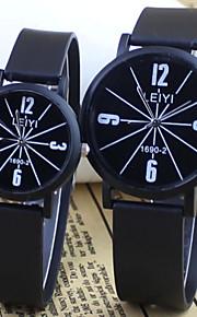 moda do casal e estilo casual mostrador redondo borracha preta relógio de pulso de quartzo banda