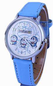 Doraemon padrão pu banda relógio de pulso analógico bonito dos desenhos animados para crianças