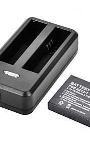 1010mAh Li-ion Replacement Battery + Dual-Slot Travelling Fast Charger for Xiaomi Yi