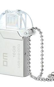 dm pd008 16gb usb unidade otg impermeável 2.0 + micro usb flash para telefones inteligentes&computador - prata