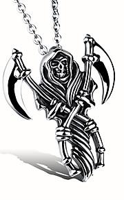 A God of Death Fine Steel Skeleton Sickle Man Necklace