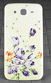 Drill and Purple Flower Pattern PC Back Cover Case for Samsung Galaxy Mega I9152