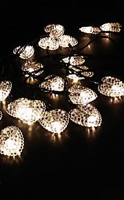 solar kjærlighet hjerte form string 6.5m 30led lys fint festlysene bryllup dekorasjon lys utendørs vanntett lights