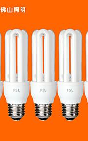 5個FSL E26 / E27用のT3 3U 13ワット640lm 6500Kクールホワイト光CFL電球(AC220V)