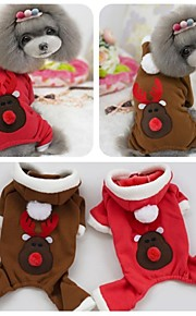 FUN OF PETS® Cute Christmas Reindeer Pattern Jumpsuits with Hoodie Dog Christmas Winter Clothes for Pets