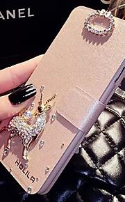 lady®luxurious / elegante telefon flip etui til iPhone 5 / 5s (4,0 tommer), dekoreret med Camellia diamantring telefon sag