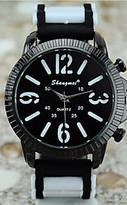 relógio de quartzo simples lazer moda silicone dos homens (cores sortidas)