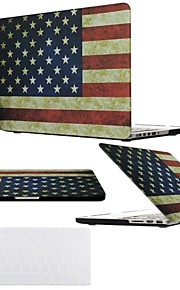 "2 in 1  Retro USA Flag Full Hard Plastic Cover  for MacBook Air Pro Retina 11"" /13"" /15"" with Transparent Keyboard Cover"